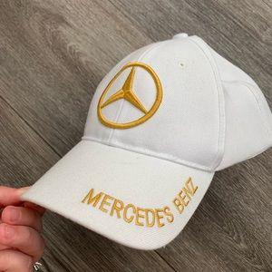 Vintage Mercedes Benz hat cap white gold